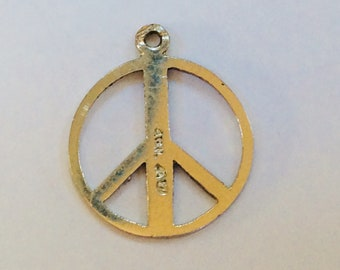 Sterling silver peace sign charm vintage # S 868