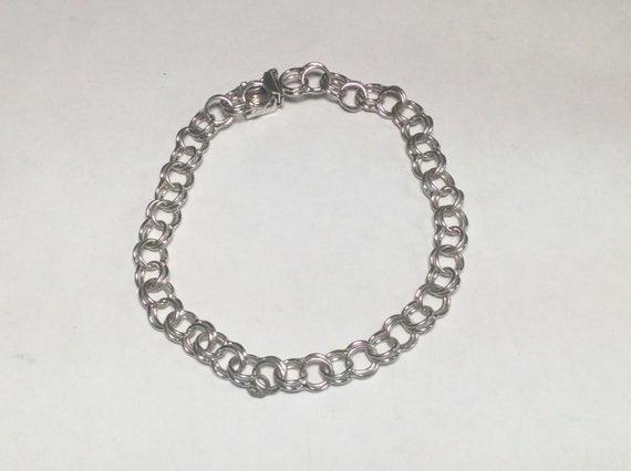 Sterling silver 7.5inch charm bracelet vintage # 4215