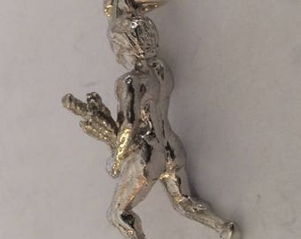 Sterling silver Olympic torch bearer charm vintage #680 s