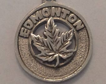 Sterling silver Edmonton Maple leaf charm vintage #335 s