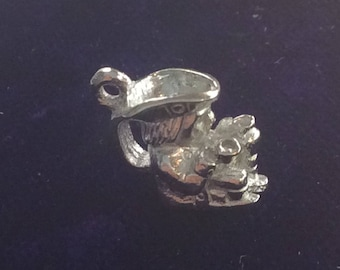 Sterling silver proprietor server food drink charm vintage # 179s