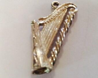 Irish harp sterling silver charm vintage # 503