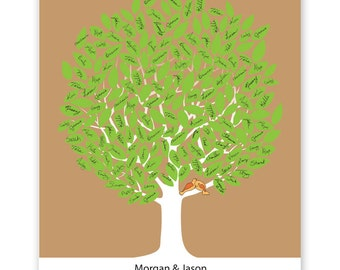 Leaf Tree Guest Book with birds - Summer Tree Two, Signature Mat, Wedding Tree Guest Book, Wedding Guest Book Alternative