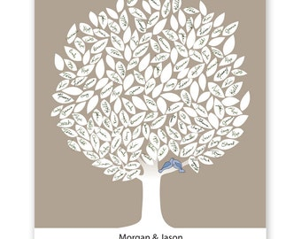 Leaf Tree Guest Book with birds - Winter Tree, Signature Mat, Wedding Tree Guest Book, Wedding Guest Book Alternative