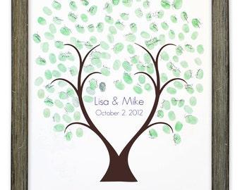 Thumb Tree Guest Book Love - Signature Mat Framed, Wedding Guest Book, Wedding Guest Book Alternative