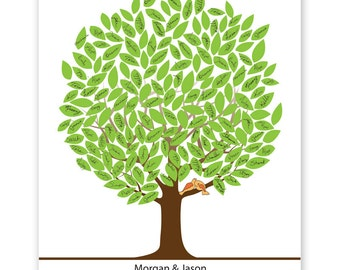 Leaf Tree Guest Book with birds - Summer Tree, Signature Mat, Wedding Tree Guest Book, Wedding Guest Book Alternative