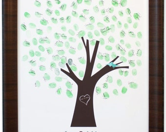 Thumb Tree Guest Book with Dove - Signature Mat Cherry Frame, Wedding Guest Book, Wedding Guest Book Alternative