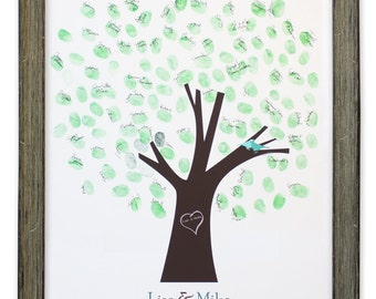 Thumb Tree Guest Book with dove - Signature Mat Framed, Wedding Tree Guest Book, Wedding Guest Book Alternative