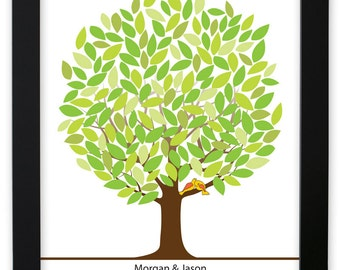 Leaf Tree Guest Book with birds - Spring Tree, Signature Mat Framed, Wedding Tree Guest Book, Wedding Guest Book Alternative