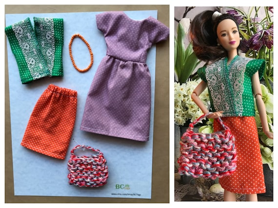 6f7eff0685cbe Handmade Barbie Outfit with Accessories . Barbie Clothes .