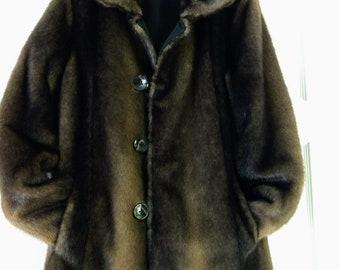 3e416866a4dc4 Vtg Size S ELLEN TRACY Riversible Coat Black Riversible Faux Fur Coat Designer  Faux Mink Coat Gift For Her No.527