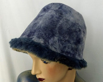6994f295 VTG Womens Sheepskin Hat/Genuine Shearling Hat/ Winter Bucket Hat/Unique  Hand Made Sheepskin Hat/Grey Blue Hat/Real Fur Hat/No.672