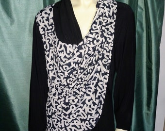 a0fee6f19ee Size XL Black and White Blouse Long Sleeve XL Blouse Waves Blouse Blouse  with Draped Front 90 s XL Top Nr.