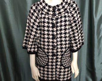 Size L Vtg Cashmiere Knit Jacket/Black and White Cashmiere Jacket/Houndstooth Blazer/Houndstooth Vintage Jacket/No.432