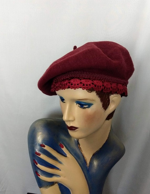Classic French Beret/Pure Wool Beret/Burgundy Bere