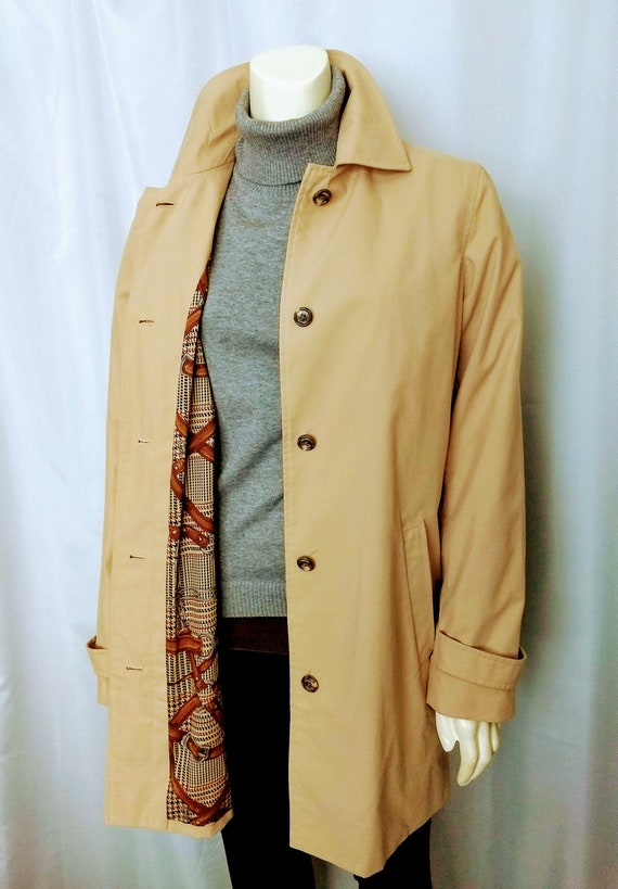 Vtg Size S CHAPS Camel Trench Coat,Spring Coat,Cla