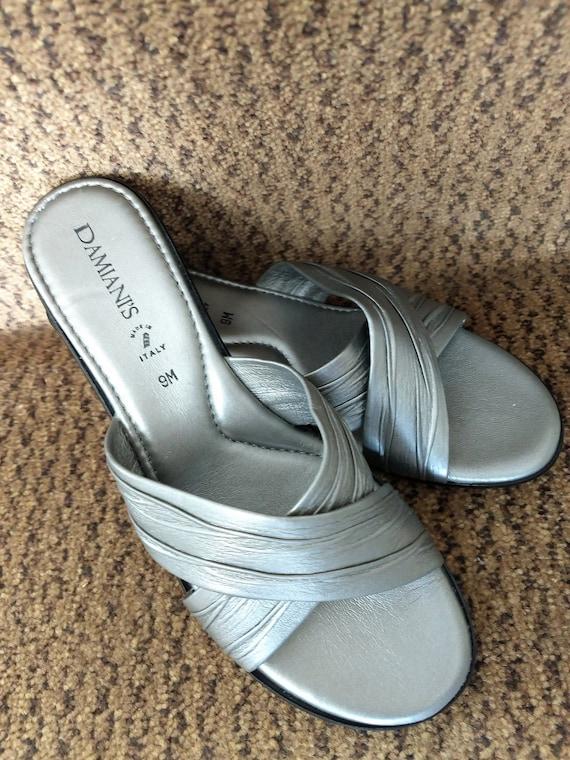SIZE 9 Slip On Wedge SandalsItalian Summer SandalsSilver Slides SandalsFaux Leather SandalsSlip Ons SandalsVTG Wedges SandalsNo.458