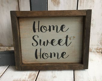 Home Sweet Home | Framed Wood Sign | Home Décor