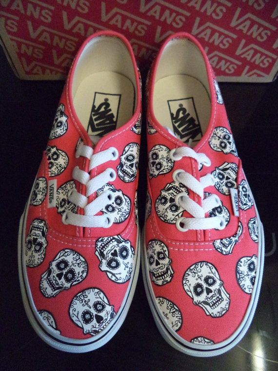 d362105fcef7ea Hand Painted Disney Coco Candy Sugar Skull Authentic Vans Red