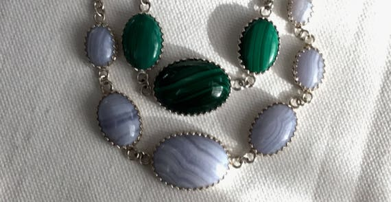 Blue lace agate or green Malachite necklace.Womans choker.White and green holiday jewelry.Green or white multi stone necklace.Stone jewelry