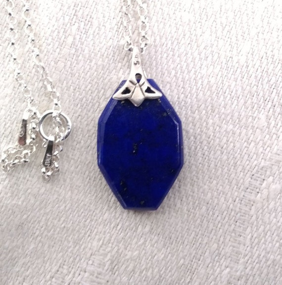 Blue lapis necklace/Lapis and sterling pendant/ Blue jewelry/Filigree necklace/