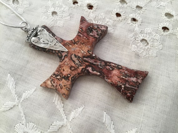 Leopard skin cross/Orange and red cross /Pectoral cross/ gothic stone cross necklace/spiritualist cross