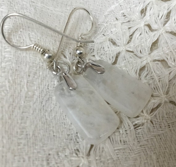 White dangle earrings/handmade stone jewelry/small white agate earrings/womans jewelry/small white stone earrings/ice stone