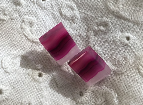 Purple stone studs/ pink stud earrings/ colorful square studs/purple agate jewelry/ summer jewelry
