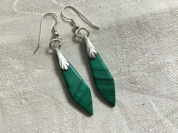 Green malachite dangle earrings/ green stone and sterling drops/green and silver jewelry /womans dangles/