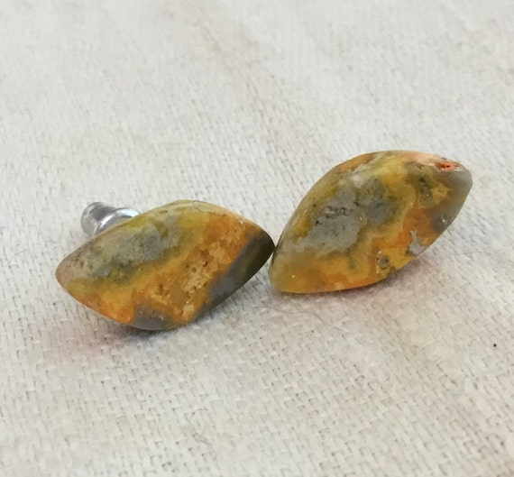 Bumblebee  yellow jasper stud earrings/ yellow orange jewelry/ womans stud earrings/sunshine studs