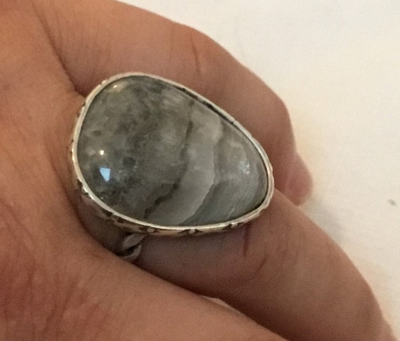 Crazy lace and sterling  statement ring/Size 7 sterling ring/crazy lace oval ring/free shipping/stone and sterling