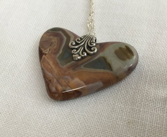 Heart pendant necklace /Victorian heart pendant/Gift for lover/Stone valentine/polychrome jasper