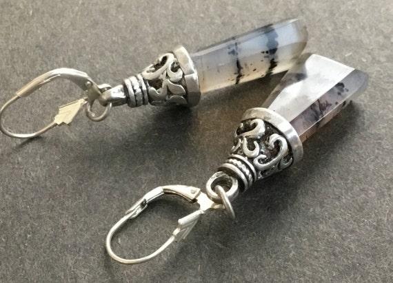 Bell earrings/pyramid sterling and stone earrings/glass jewelry/ transparent dangles/Tibetian bell earrings