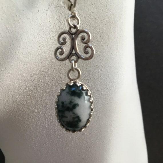 Green tree agate dangle earrings. Green and white stone drop earrings. Filigree tree agate jewelry. Christmas earrings