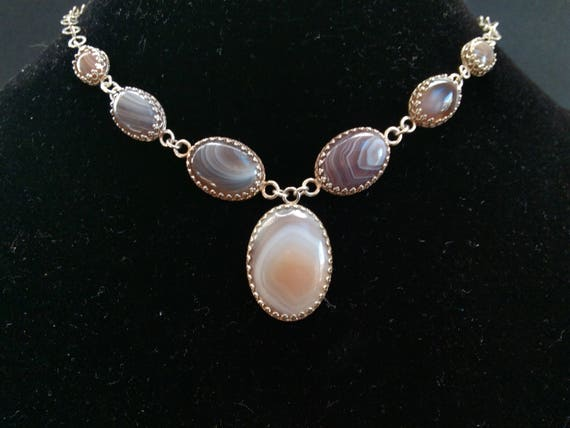 Pink Botswana agate seven stone sterling choker. Adjustable choker. No roll choker. Evening jewelry. Classy necklace. Very special jewelry