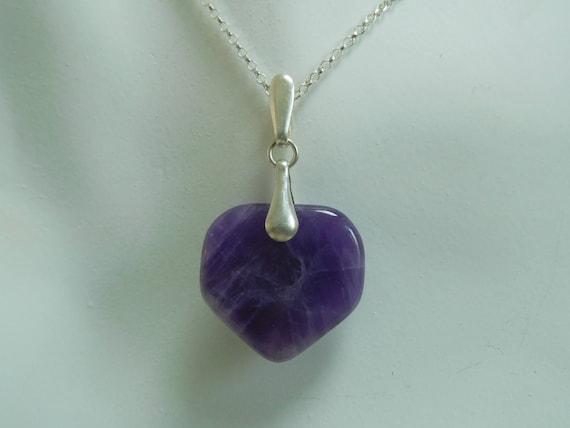 Purple amethyst pendant/Amethyst and sterling /Purple Jewelry/Healing stones/stone and sterling/home plate