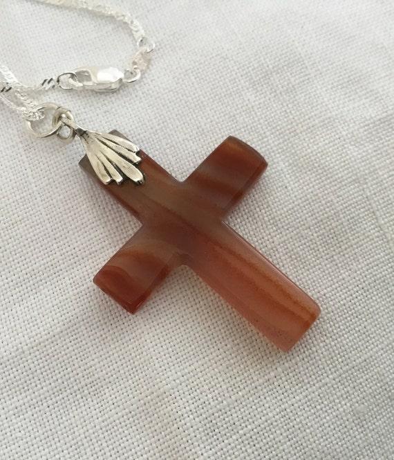 Orange stone cross/orange flame agate/fire and brimstone cross/stone and sterling cross
