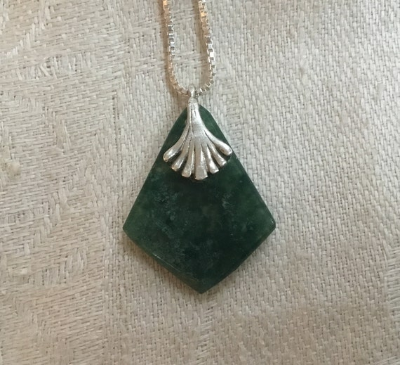 Green jade and sterling necklace/green and silver/kite shaped pendant/