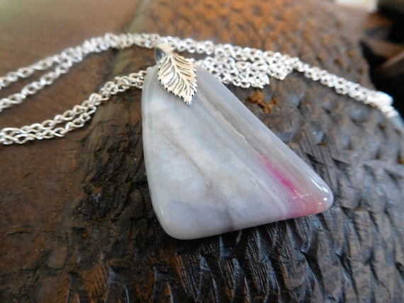 white with pink necklace/white stone pendant/ arizona agate jewelry/white stone and sterling/girls jewelry/womans jewelry