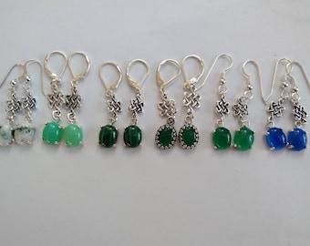 Celtic Dara knot stone drop earrings in sterling silver. Celtic symbols.