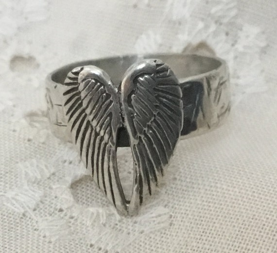 Angel wings band ring/eagle wings/Icarus ring/ Sterling jewelry /unisex jewelry/ biker chick jewelry /only stone jewelry