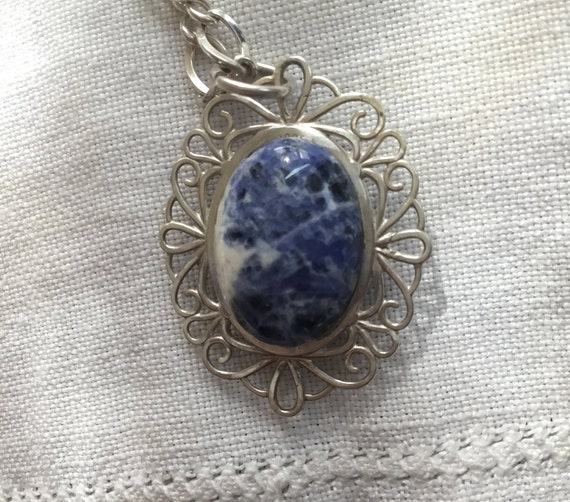 Blue and white Two sided pendantblue stone and sterling pendantvictorian pendanttwo sidedwillow ware jewelryonly stone jewelryUSA made