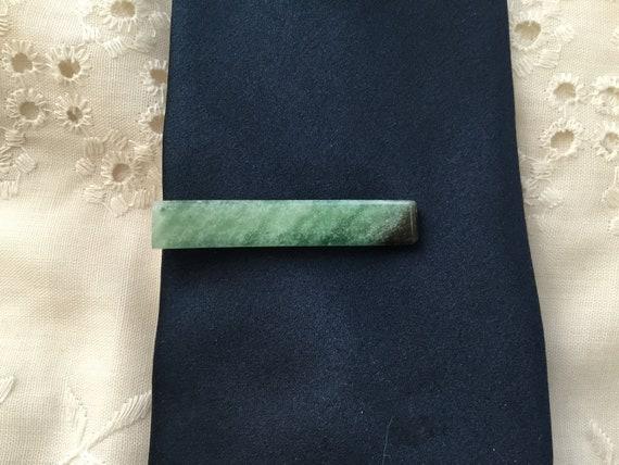 Mans green tie clip/ green aventurine stone tie clip/ spring green tie accessories/Irish green /clip art