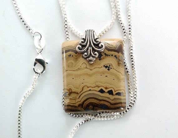 Picture jasper necklace/Schalenblende pendant /chrome picture stone/victorian bail.