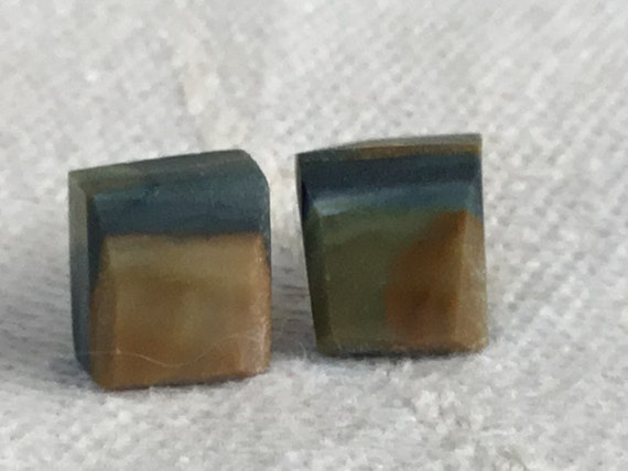 Square stone rough cut studs. Natural rustic square stud earrings. Hand made in USA