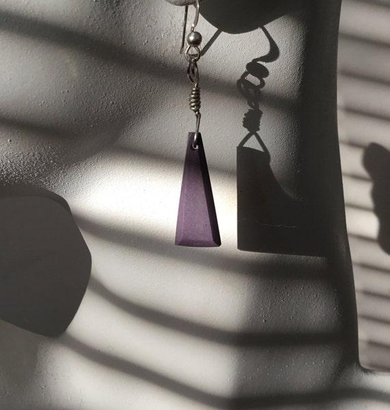 Dusty purple dangle earrings/plum purple earrings/triangle dangles/purple porcelain and sterling dangles
