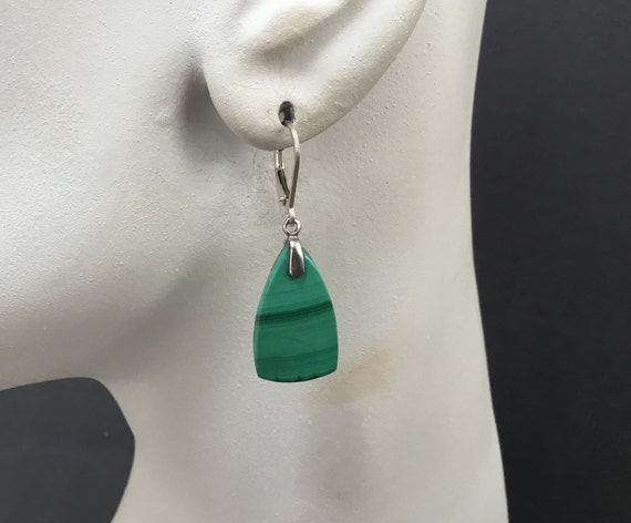 Green malachite dangle earrings/ green with silver/striped green earring/sterling with malachite/day or evening jewelry