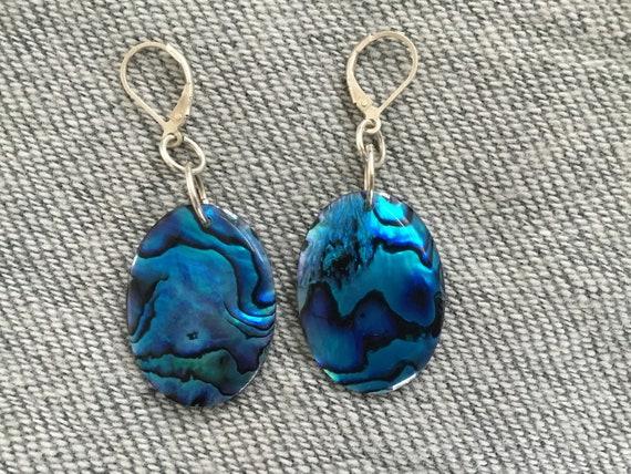Big Blue oval dangle earrings/ New Zealand paua shell jewelry/Blue paua shell and sterling /womans dangles /