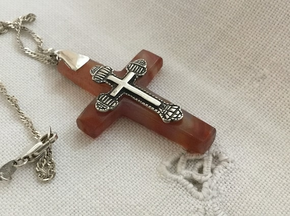 stone and sterling cross/Rust and sterling cross/glass cross pendant/ tie dye cross/ unisex cross/fall colors/only stone jewelry /crucifix