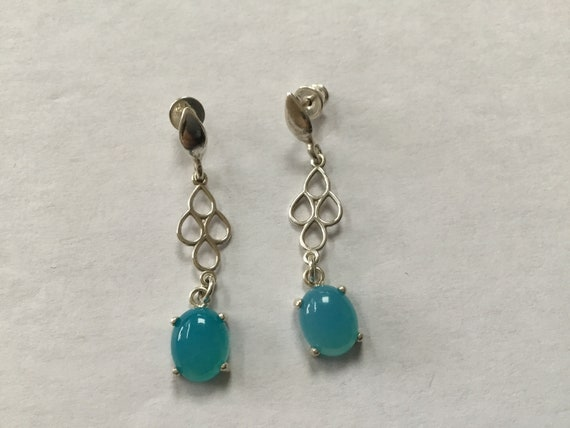 Bright blue dangle earrings/Brilliant sea foam earrings/Baby blue dangles/ long blue stone and sterling earrings